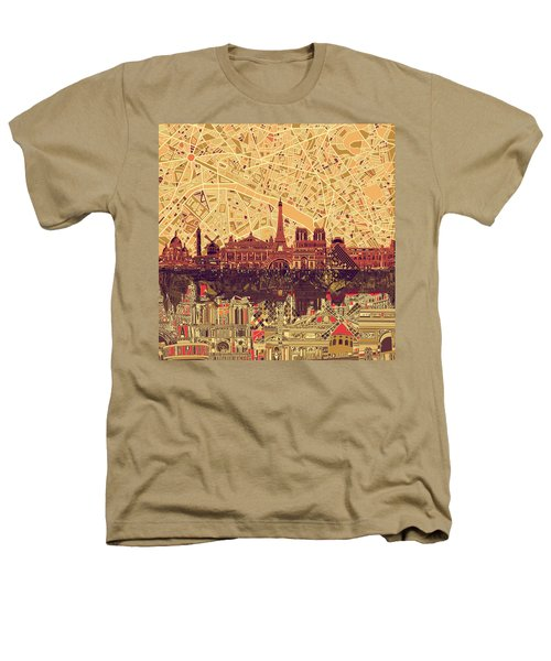 Paris Skyline Abstract Sepia Heathers T-Shirt