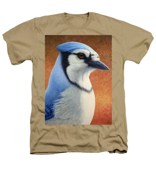 Portrait Of A Bluejay Heathers T-Shirt by James W Johnson