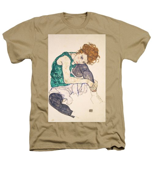 Seated Woman With Legs Drawn Up. Adele Herms Heathers T-Shirt