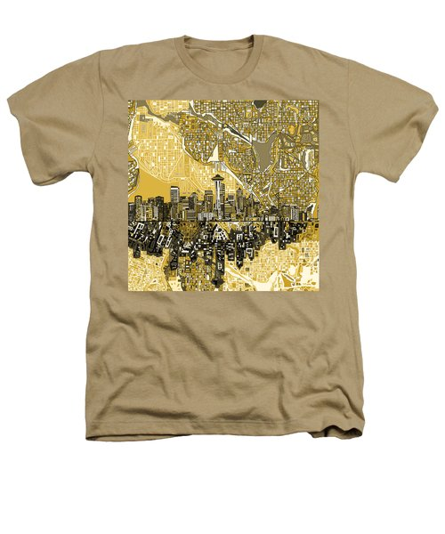 Seattle Skyline Abstract 2 Heathers T-Shirt