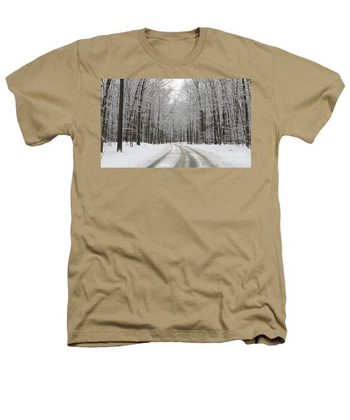 Snowy Road In Oak Openings 7058 Heathers T-Shirt by Jack Schultz