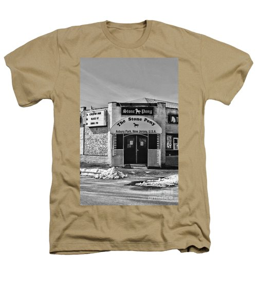 Stone Pony In Black And White Heathers T-Shirt by Paul Ward