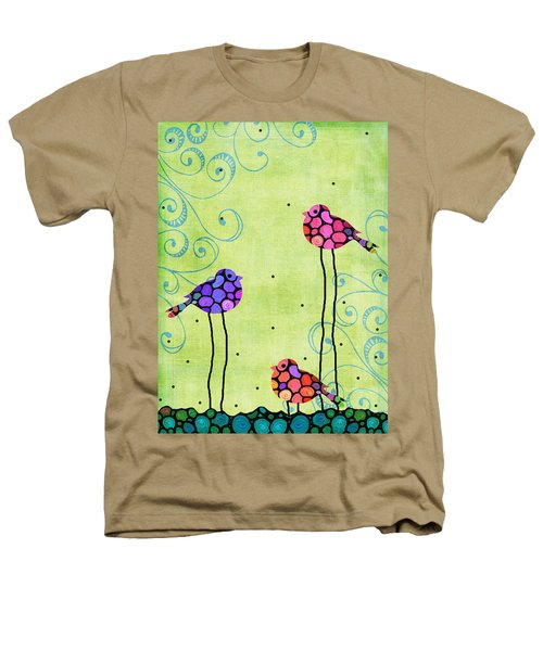 Three Birds - Spring Art By Sharon Cummings Heathers T-Shirt by Sharon Cummings