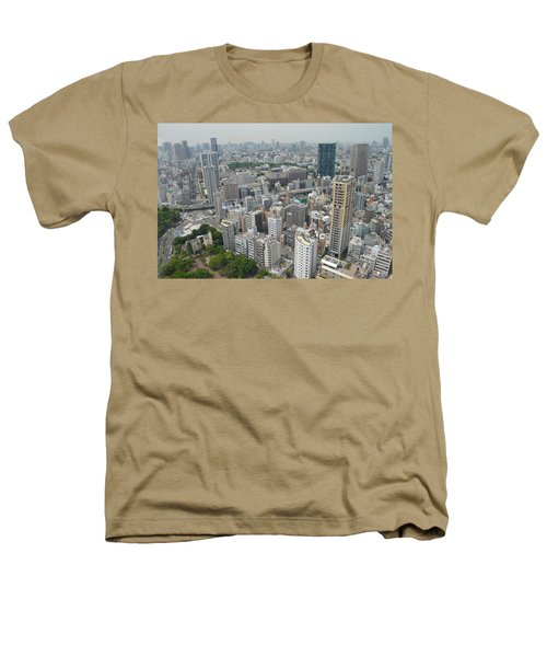 Tokyo Intersection Skyline View From Tokyo Tower Heathers T-Shirt by Jeff at JSJ Photography