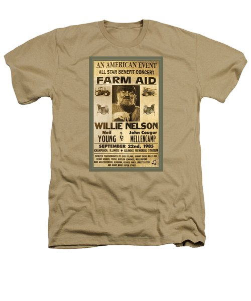 Vintage Willie Nelson 1985 Farm Aid Poster Heathers T-Shirt by John Stephens