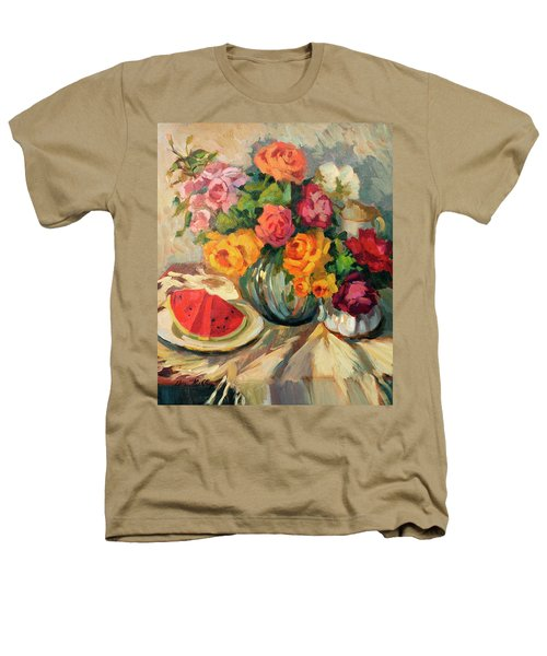 Watermelon And Roses Heathers T-Shirt by Diane McClary