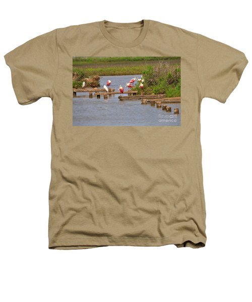 Roseate Spoonbills And Snowy Egrets Heathers T-Shirt by Louise Heusinkveld