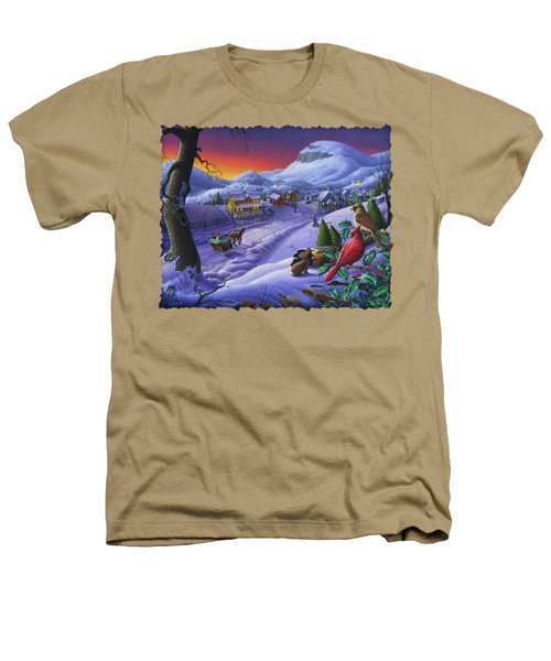 Christmas Sleigh Ride Winter Landscape Oil Painting - Cardinals Country Farm - Small Town Folk Art Heathers T-Shirt by Walt Curlee