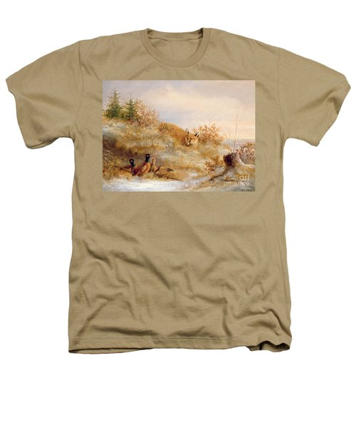 Fox And Pheasants In Winter Heathers T-Shirt by Anonymous
