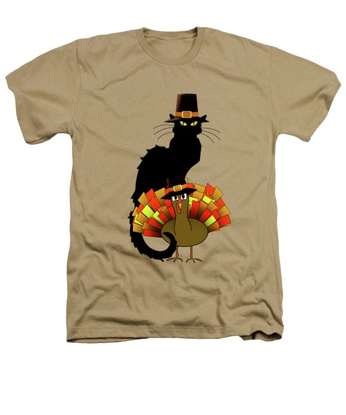 Thanksgiving Le Chat Noir With Turkey Pilgrim Heathers T-Shirt by Gravityx9   Designs