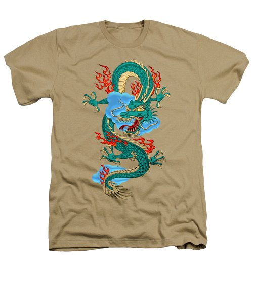 The Great Dragon Spirits - Turquoise Dragon On Rice Paper Heathers T-Shirt by Serge Averbukh
