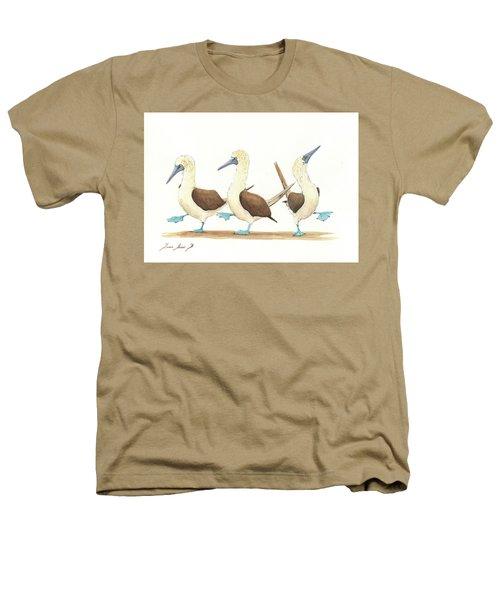Three Blue Footed Boobies Heathers T-Shirt by Juan Bosco