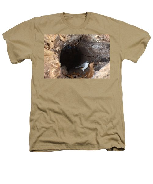 Tufted Titmouse In A Log Heathers T-Shirt by Ted Kinsman
