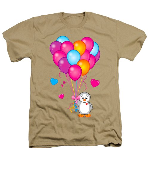 Baby Penguin With Heart Balloons Heathers T-Shirt by A