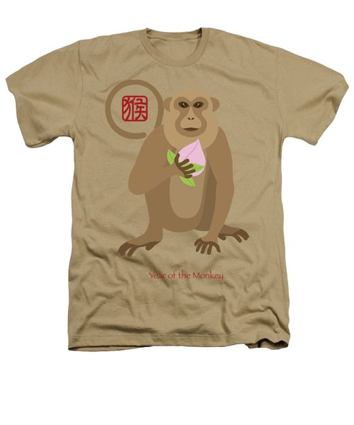 2016 Chinese Year Of The Monkey With Peach Heathers T-Shirt by Jit Lim