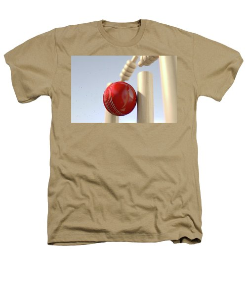 Cricket Ball Hitting Wickets Heathers T-Shirt by Allan Swart