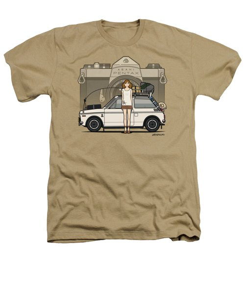 Honda N600 Rally Kei Car With Japanese 60's Asahi Pentax Commercial Girl Heathers T-Shirt by Monkey Crisis On Mars