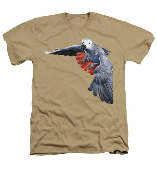African Grey Parrot Flying Heathers T-Shirt by Owen Bell