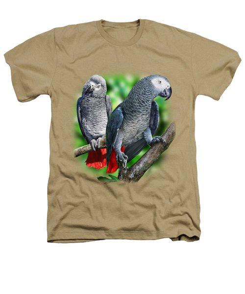 African Grey Parrots A Heathers T-Shirt by Owen Bell