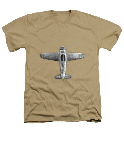 Antique Toy Airplane Floating On White In Black And White Heathers T-Shirt