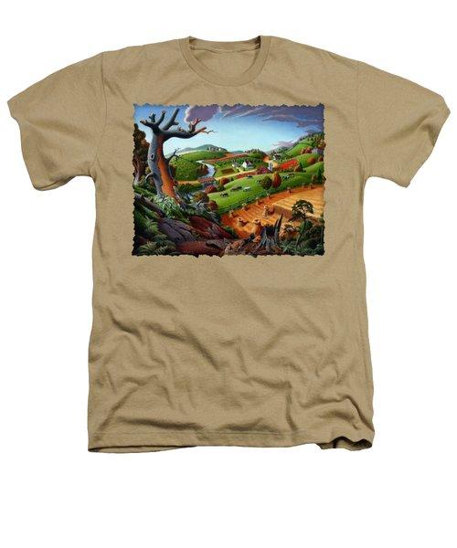 Appalachian Fall Thanksgiving Wheat Field Harvest Farm Landscape Painting - Rural Americana - Autumn Heathers T-Shirt by Walt Curlee