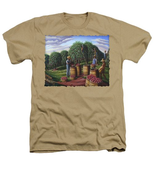 Apple Harvest - Autumn Farmers Orchard Farm Landscape - Folk Art Americana Heathers T-Shirt by Walt Curlee