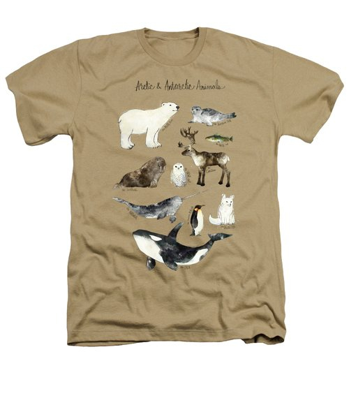 Arctic And Antarctic Animals Heathers T-Shirt by Amy Hamilton