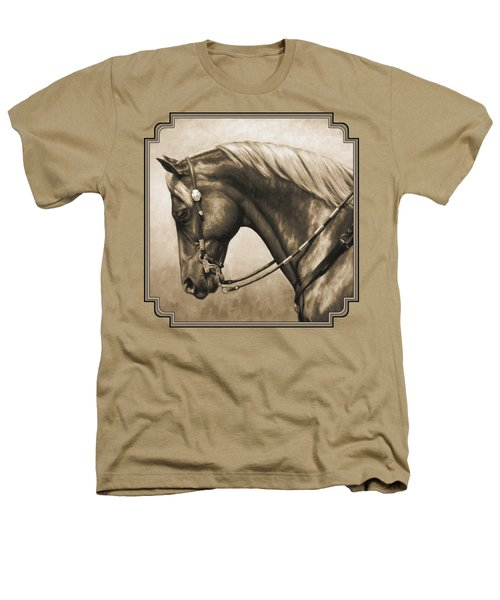 Western Horse Painting In Sepia Heathers T-Shirt by Crista Forest