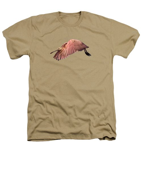Roseate Spoonbill In Flight Heathers T-Shirt by John Harmon