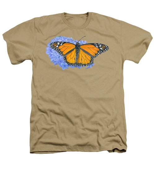 Monarch Butterfly And Hydrangea- Transparent Background Heathers T-Shirt