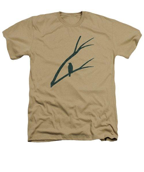 Green Bird Silhouette Plaid Bird Art Heathers T-Shirt