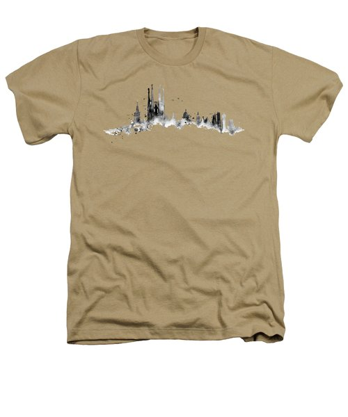 White Barcelona Skyline Heathers T-Shirt by Aloke Creative Store