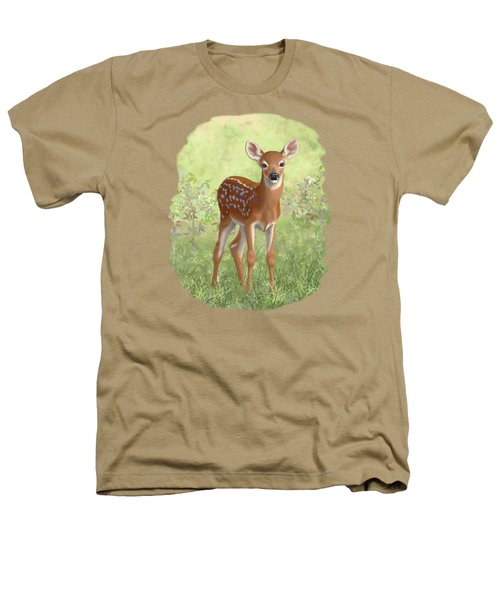 Cute Whitetail Deer Fawn Heathers T-Shirt by Crista Forest
