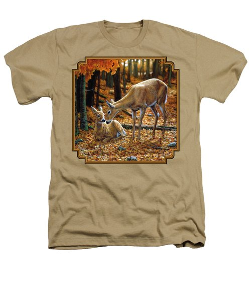 Whitetail Deer - Autumn Innocence 2 Heathers T-Shirt by Crista Forest