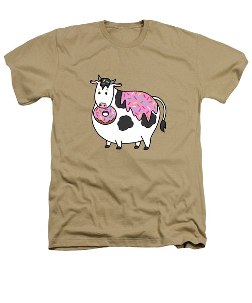 Funny Fat Holstein Cow Sprinkle Doughnut Heathers T-Shirt by Crista Forest