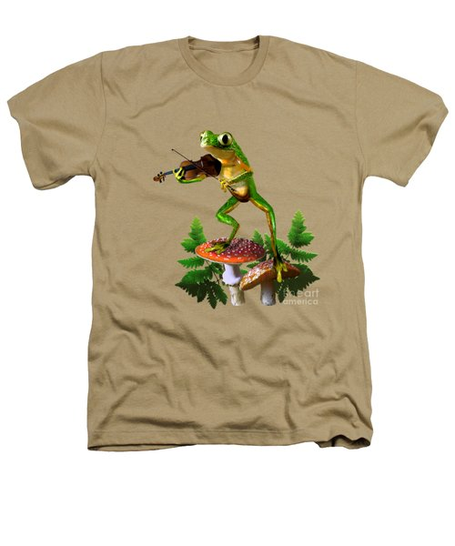 Humorous Tree Frog Playing A Fiddle Heathers T-Shirt by Regina Femrite