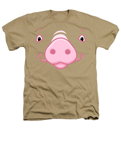 Cute Happy Pink Pig Big Face Heathers T-Shirt