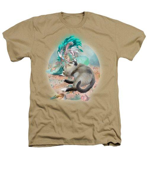 Cat In Summer Beach Hat Heathers T-Shirt by Carol Cavalaris