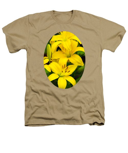 Yellow Lilies Heathers T-Shirt by Christina Rollo