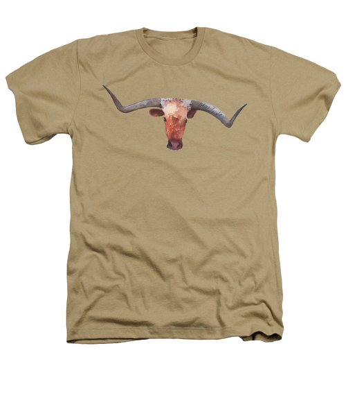 On The Level Texas Longhorn Watercolor Painting By Kmcelwaine Heathers T-Shirt
