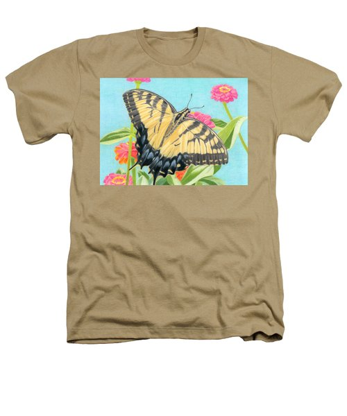 Swallowtail Butterfly And Zinnias Heathers T-Shirt by Sarah Batalka