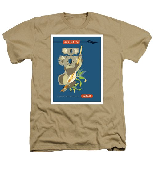 Australia Koala Bears Qantas Empire Airways Vintage Travel Poster Heathers T-Shirt