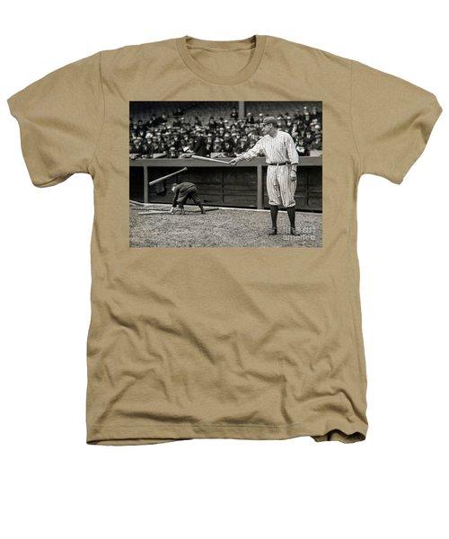Babe Ruth At Bat Heathers T-Shirt by Jon Neidert