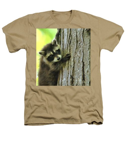 Baby Raccoon In A Tree Heathers T-Shirt by Dan Sproul