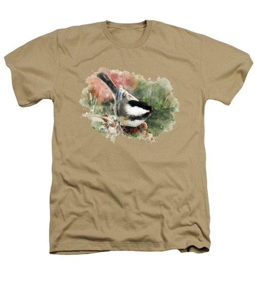 Beautiful Chickadee - Watercolor Art Heathers T-Shirt