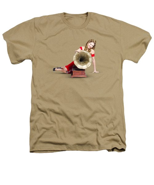 Beautiful Pinup Woman Listening To Old Gramophone Heathers T-Shirt by Jorgo Photography - Wall Art Gallery