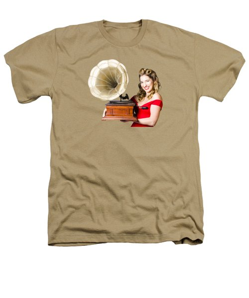 Beautiful Woman With Gramophone Isolated On White Heathers T-Shirt