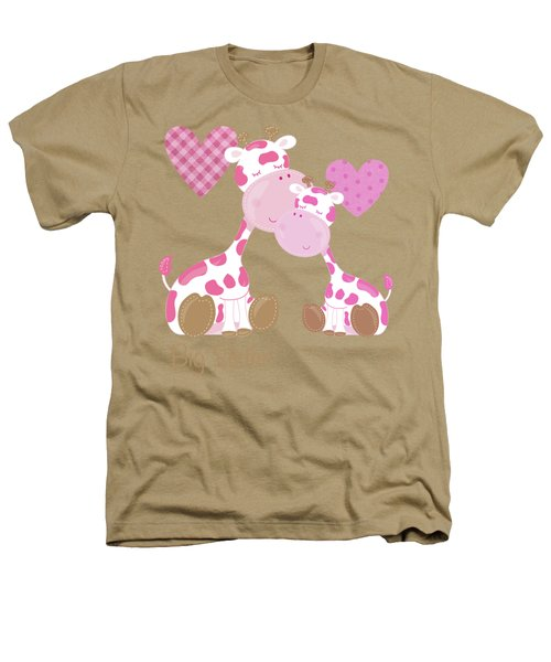 Big Sister Cute Baby Giraffes And Hearts Heathers T-Shirt by Tina Lavoie