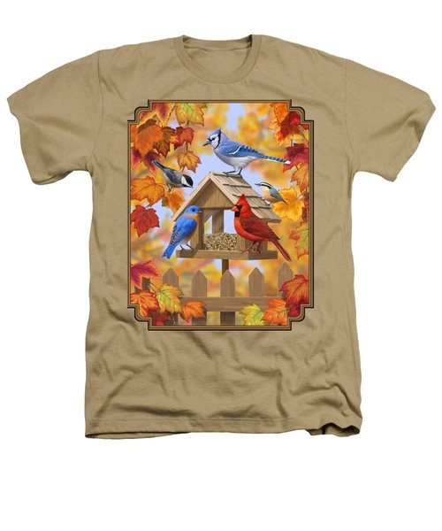 Bird Painting - Autumn Aquaintances Heathers T-Shirt by Crista Forest