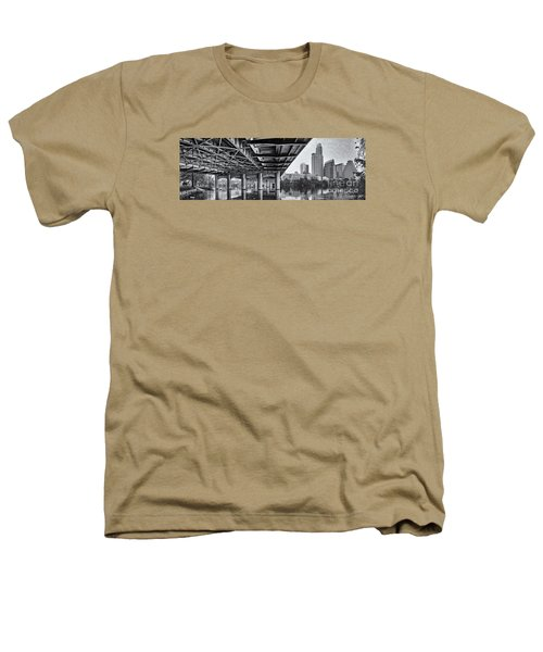 Black And White Panorama Of Downtown Austin Skyline Under The Bridge - Austin Texas  Heathers T-Shirt
